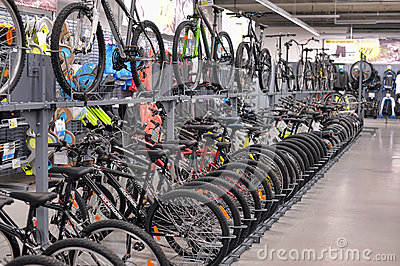 Sporting goods store bikes Editorial Stock Image