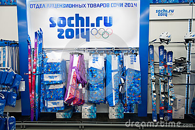 Sporting goods with symbolic Olympic Games in Sochi 2014 Editorial Stock Photo