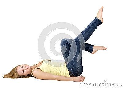 Sportive girl doing exercises