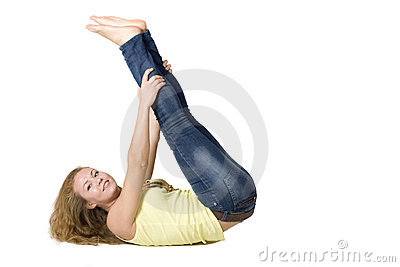 Sportive girl doing exercises