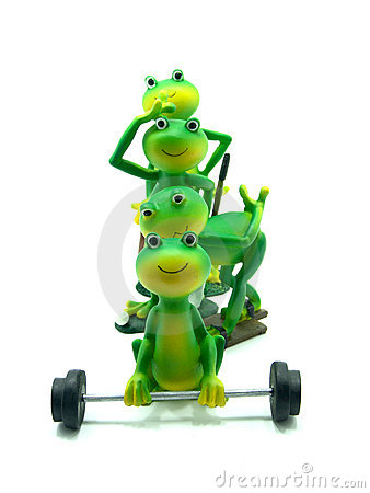 Free Sportive Miniature Frog Figurines Royalty Free Stock Images - 7137709