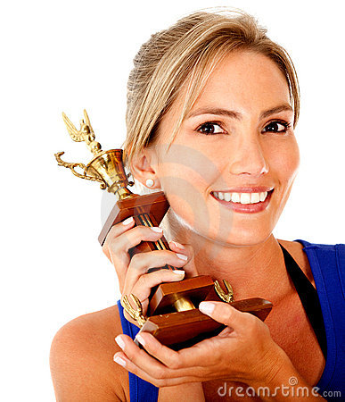 Sportive woman with trophy