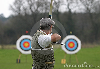 Sports Archer Aiming at Target Editorial Stock Photo