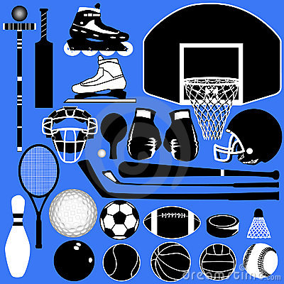 Sports balls and equipment in vector