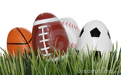 Sports Balls in the Grass