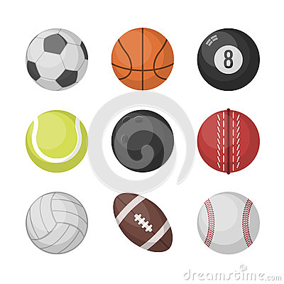 Free Sports Balls Vector Set. Basketball, Soccer, Tennis, Football, Baseball, Bowling, Golf, Volleyball Royalty Free Stock Image - 86575856