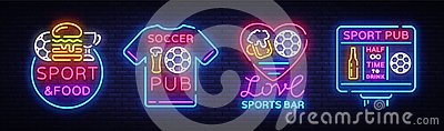 Sports bar collection logos neon vector. Sports pub set neon signs, Football and Soccer concepts, night bright signboard Vector Illustration