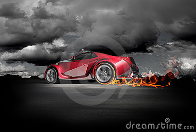 Sports car burnout