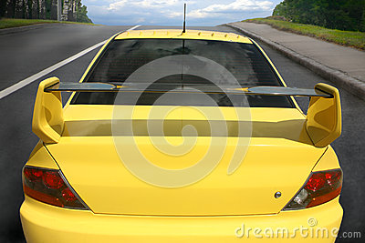 Sports car on city road