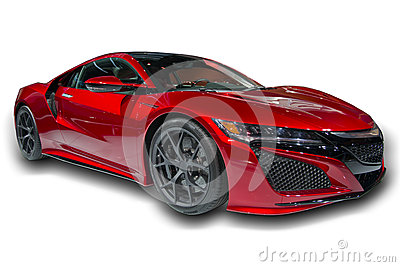 Red Sports Car Isolated Stock Photo