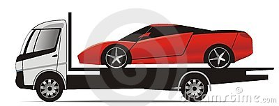 Sports car on flatbed truck