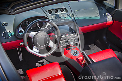 Sports car interior in swede leather