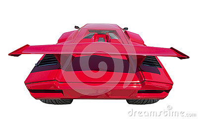 Sports car rear, isolated
