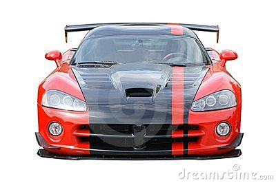 Sports Car Red American Isolated