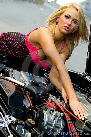 Sports Car and Sexy Girl Blonde