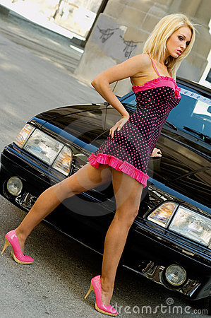 Sports Car Sexy Girl Blonde