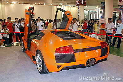 Sports car showed on Automobile Expo in Xiamen Editorial Stock Image