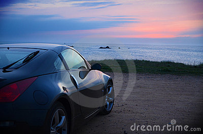 Sports car Sunset