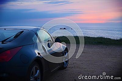 Sports car Sunset