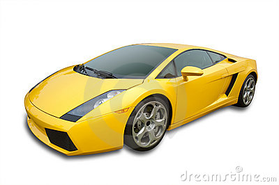 Sports car in yellow, isolated