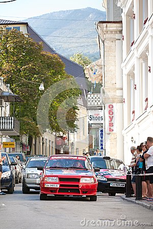 Sports cars compete Prime Yalta Rally Editorial Stock Image