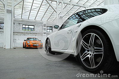 Sports cars. Porsche 911 GT3 RS, 911 Turbo Editorial Photo
