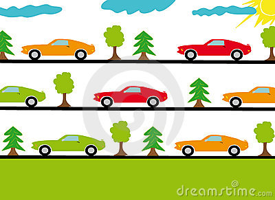 Sports cars on the roads in forest