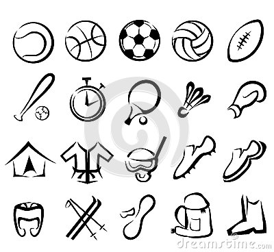 Free Sports Equipment Icons Set Royalty Free Stock Photos - 26612028