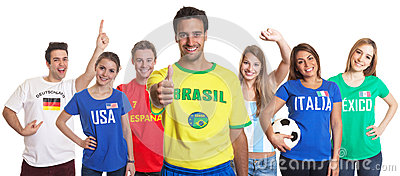 Sports Fan from Brazil showing thumb up with other fans