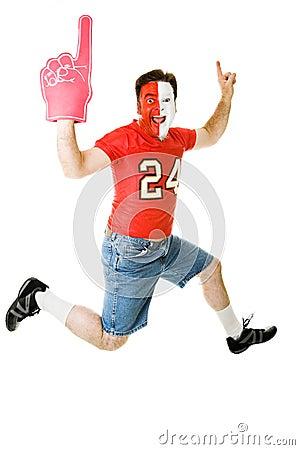 Free Sports Fan Jumps For Joy Stock Photos - 7329223