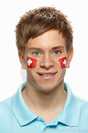 Sports Fan With Swiss Flag Painted On F