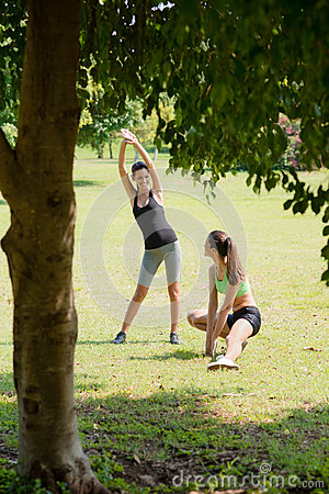 Free Sports, Female Friends Relaxing After Jogging Stock Images - 25344114