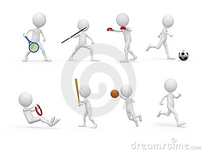 Sports figure character set in different positions