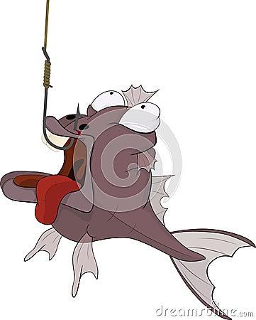 Sports fishing and predatory fish. Cartoon
