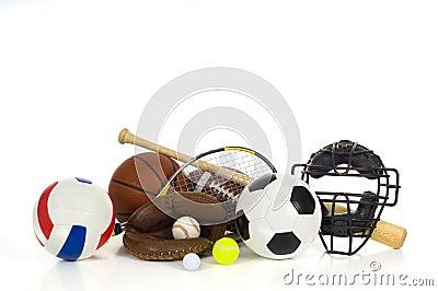 Sports gear on white