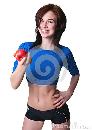 Sports girl with apple