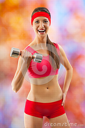 A sports girl in red wear