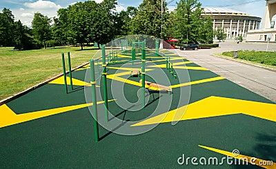 Sports gymnastic ground on the street