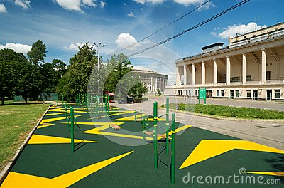 Sports gymnastic ground on the street