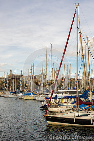 Sports haven Barcelona anchored yachts