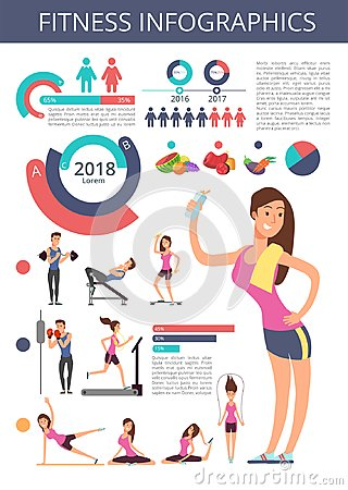 Sports and healthy life vector business infographic with sport person characters, charts and diagrams Vector Illustration