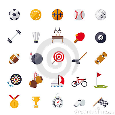 Free Sports Icons Flat Design Isolated Vector Set. Stock Photos - 49456173