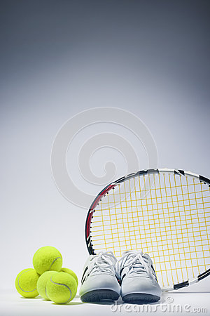 Sports Images Concepts: Tennis Raquet, Tennis Balls and Trainers