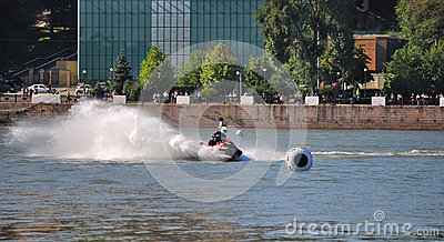 Sports motor boat at great speed.