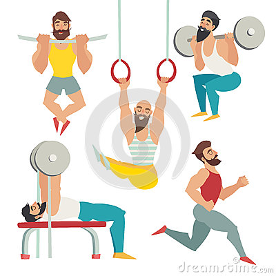 Free Sports People In The Gym. Gymnastics Rings, Bench Press, Running, Squats, Tightened On The Panel Royalty Free Stock Photos - 67065688
