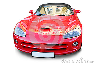 Sports red car is isolated