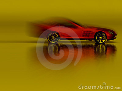 Sports Red Car in motion