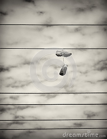 Free Sports Shoes Hanging From Power Lines Stock Images - 38151534