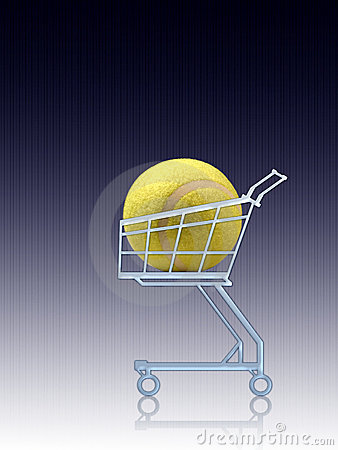Sports shopping. Tennis ball in a shopping cart