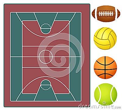 Sports stadium and sports balls